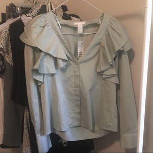 H&M Ruffle Collar Blouse